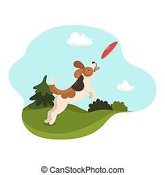 prises, graphics., vecteur, meadow., chien, plaque