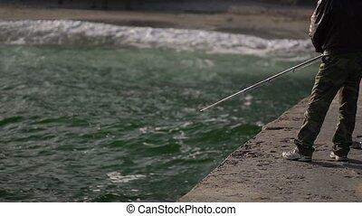 prises, homme, jetée, fish, sea.
