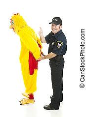 prises, poulet, policier, homme