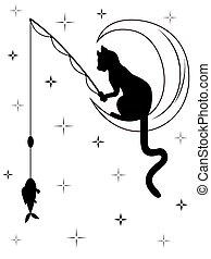 prises, séance, fish, lune, chat noir