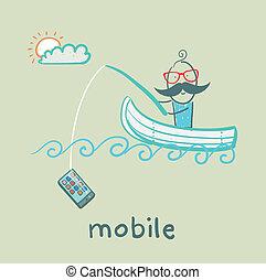 prises, tige, téléphone, peche, natation, bateau, homme