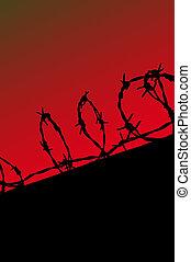 prisión, cerca, silueta, en, rojo, gradiente, cielo