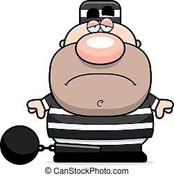 prisioneiro, caricatura, triste