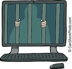 prisioneiro, dentro, computador
