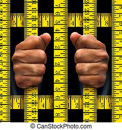 prisioneiro, fazer dieta, conceito