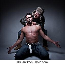 prisioner being tortured - portrait of a prisioner being...