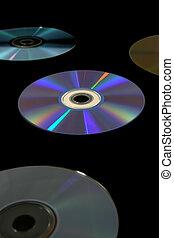 prismático, ella/los/las de cd, aislado, negro, reflexiones,...