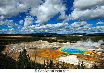 prismático, parque nacional, yellowstone, magnífico, piscina