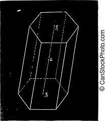 Prism center of gravity, vintage engraving.