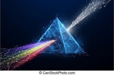 Prism light spectrum. 3d triangle shape from lines, triangles, particle, low poly and wireframe design. Vector illustration