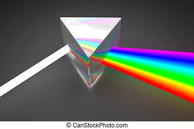 Prism light spectrum dispersion. On dark background