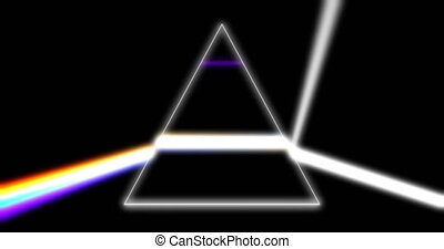 Prism refracting light rays 3d footage. Glass pyramid...