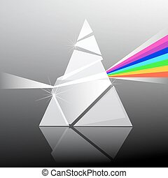 Prism Vector Illustration. Triangle Transparent Glass Shape with Colorful Rainbow Effect.
