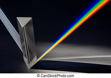 prisma, por, espectro, luz del sol