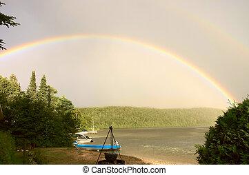 rainbow over a lake 2