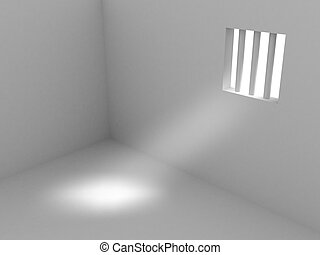 3d render of prison. Isolated on white background.