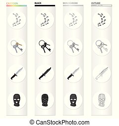 Prison and the criminal cartoon black monochrome outline...