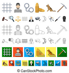 Prison and the criminal cartoon icons in set collection for...