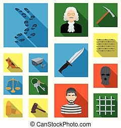 Prison and the criminal flat icons in set collection for...