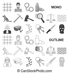 Prison and the criminal monochrom icons in set collection...