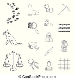 Prison and the criminal outline icons in set collection for...