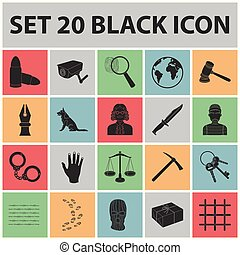 Prison and the criminalblack icons in set collection for...