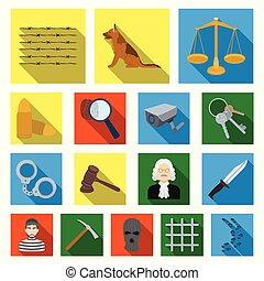Prison and the criminalflat icons in set collection for...