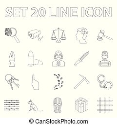 Prison and the criminaloutline icons in set collection for...