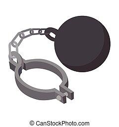 Prison ball and chain cartoon icon