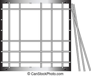 Prison bar - Steel grating without a few twigs. Vector...