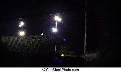 prison, barrière, nuit