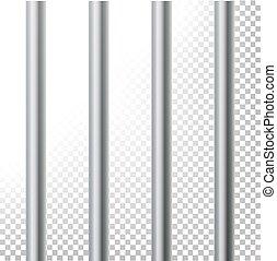 Prison Bars Isolated Vector Illustration. Transparent Background. 3D Metal Jailhouse, Prison House Grid Illustration