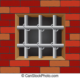 prison bars on brick wall vector