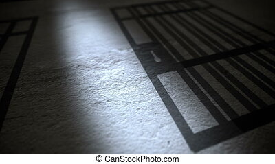 Prison Bars Shadow on a Floor.