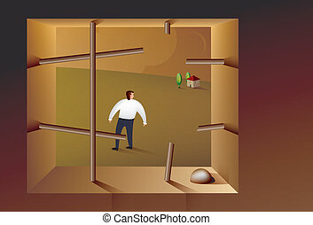 Illustration of a business man escaping from prison