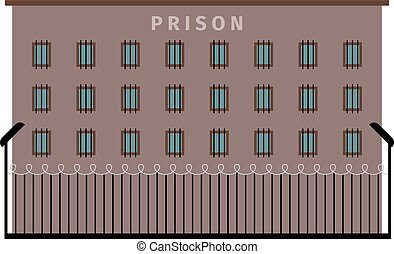 Prison building flat icon - Prison building dark color flat...