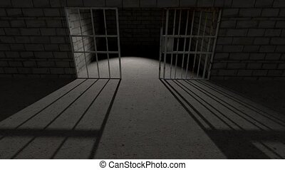 Prison cell bars cell closing 4K