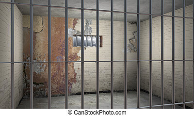 prison cell - grungy sordid empty prison cell behind bars -...