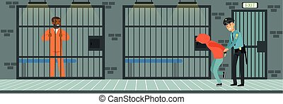 Prison cell with prisoners, policeman at work, police...
