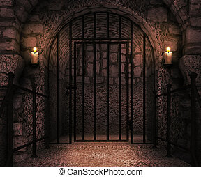 prison, château, toile de fond