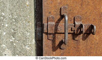 prison door with deadbolt - rusty iron door with deadbolt...