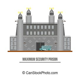 Prison exterior or jail building with towers and barbed...