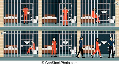 Prison inmates are security guards keep watch.