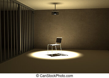prison interegation - a single light hangs of the chair of...