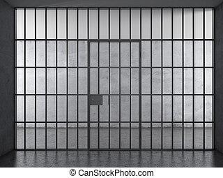 Prison interior with dramatic light - Prison interior....