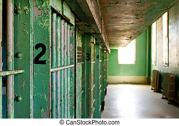 Prison jail cells - Shallow depth of field on a historic ...