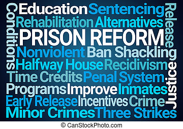 Prison Reform Word Cloud on Blue Background