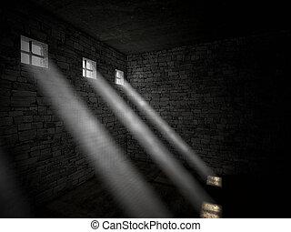 prison - 3d image of dark jail and bright window