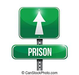 prison street sign illustration design