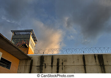 Prison sunset and smart clouds
